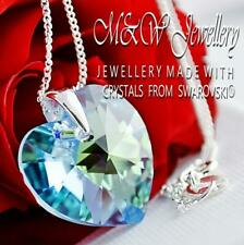 925 Silver Necklace Pendant Crystals from Swarovski® 18mm HEART - Aquamarine AB