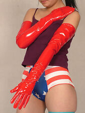 High quality! Wonderful PVC Lycra Vinyl Long zentai Red Opera Gloves S-XXL