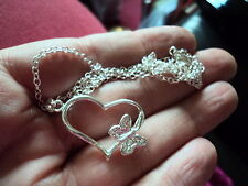 FAUX STAMPED SILVER HEART & BUTTERFLY PENDANT & CHAIN THIS IS NOT SILVER!!!