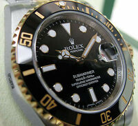 Rolex Submariner 116613 Mens Steel & Gold Black Ceramic Time Lapse Bezel 40mm