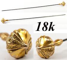 "LG 9"" Long Antique 18K Gold Hat Pin, Victorian to Edwardian Era Elegant Jewelry"