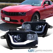 For Chevy 10-13 Camaro LED Bar Glossy Black Projector Headlights Head LampsPair