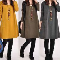 Femmes habillées caftan poche manches longues occasionnels mini robes courtes