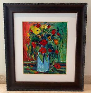 Original Framed Impressionistic Floral Palette Oil Painting on Board