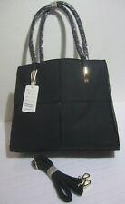 Borsa donna valigetta nero doppia maniglia o tracolla ecopelle lavorato