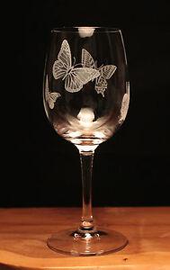 Butterflies engraved 350ml Wine Glass gift present