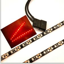 RED LED PC CASE LIGHT(TWIN 30CM BRIGHTER STRIPS) MOLEX 60CM SHEATHED TAILS
