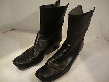 Stuart Weitzman Heel Boots Black Leather Size 7 1/2 Zipper Short Medium M