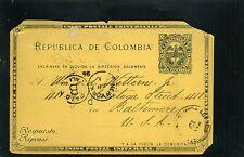 U.P.U. >>UNION POSTAL UNIVERSAL.CARTE POSTALE,>CARTAGENA  TO BALTIMORE U.S 1896