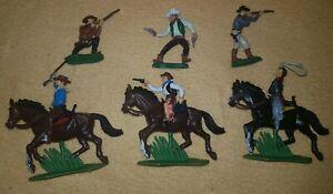 Far West  6 COWBOYS figures DSG Plastic Toy Soldiers ARGENTINA Britains