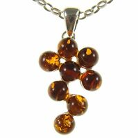 BALTIC AMBER STERLING SILVER 925 GRAPEVINE PENDANT NECKLACE CHAIN JEWELLERY GIFT