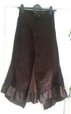 brown stretch velvet calf length skirt xs
