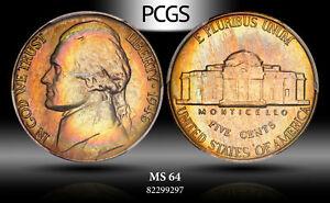 1946 Jefferson Nickel PCGS MS64 Beautiful Color Toned Gem Coin Unc