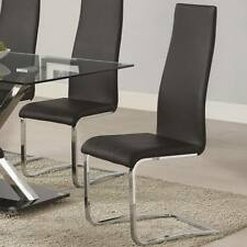 Black Faux Leather Dining Chairs w/Chrome Legs by Coaster 100515BLK - Set of 2