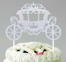 1X CINDERELLA PRINCESS CARRIAGE CAKE TOPPER / SILVER GLITTER DISNEY