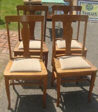 4 Golden Oak T Back Quarter Sawn Antique Chairs 1910 Vintage Mission Arts Crafts