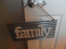 """Rustic Tin Sign """"Family"""" Country Farm Decore 16"""" x 8"""" Pier 1"""