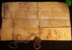 POPE PAUL V BULLA with METAL SEAL LEAD 1607 Signed by CARDINAL GIROLAMO PAMPHILJ