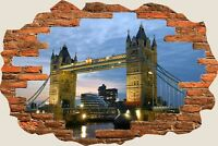 3D Hole in Wall London Bridge View Wall Stickers Film Mural Art Wallpaper 260
