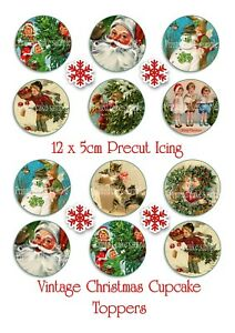 12 x 5cm EDIBLE PRECUT ICING VINTAGE CHRISTMAS CUPCAKE TOPPERS SANTA SNOWMAN