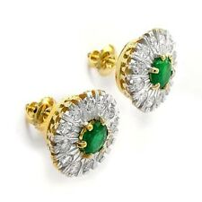 Russian Style Diamond emerald earrings 18K SOLID YELLOW AMD WHITE GOLD #E930