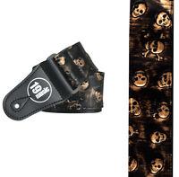 3D Embossed Skulls and Bones Adjustable Guitar Strap Sepia Brown Gold Rock Metal