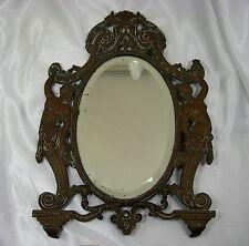 ANTIQUE 1800s Victorian Orante Bronze Footed Figural Mirror w/ Frame