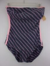Vintage Robby Len ~ Women's sz 12 Blue/Pink Striped Swimsuit Strapless or Straps