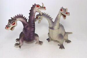 Lot 2 Vintage 1983 Imperial 2 Headed Purple Dragon Figurine Action Figure 1980's