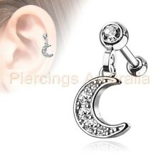 CZ Moon Cartilage Tragus Dangle Ear Ring Bar Piercing Stud Body Jewellery