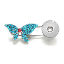 Hot Crystal Jewelry Brooch Fit 18mm Noosa Snap Button Butterfly N12