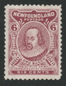 Newfoundland Scotts #92A Six Cents Claret, Guy Issue, type II, MLH