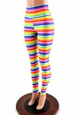 SMALL High Waist Horizontal Rainbow Stripe Spandex Leggings Ready To Ship!