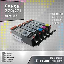 NEW 5 PACK-OEM GENUINE set up CANON PGI-270 & CL-271 Ink Cartridge BK/C/M/Y Set