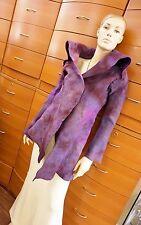FELTED WOOL ASYMMETRICAL COAT Purple Unique Jacket Handmade in Europe S/M US 6/8