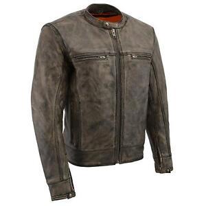 Mens Rub Off Brown Triple Stitch Design Vented Jacket w/ Two Gun Pockets MLM1550