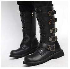 Punk Gothic Men Buckle Strap Faux Leather Winter Combat Knee High Boots Shoes