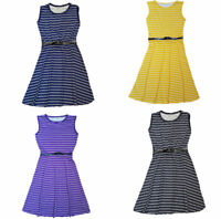 RSVH KBD Womens Striped Belted Sleeveless Flared Party Summer Skater Dress Top