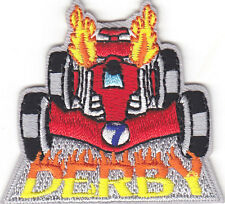 """""""DERBY"""" PATCH -Iron On Embroidered Applique/Vehicles, Racing, Fun"""