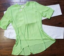 Size 16p outfit, Chico's 3 (xl) blouse, white crop jeans, necklace, 3pc, Nice!