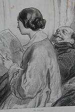 GAVARNI Lithographie originale série Par-ci Par-là - Lectrice / Prusse