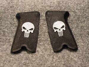 Custom Skull Grips for Ruger P85, P89, P90 & P91 White on Black