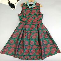 ModCloth Pink Martini Dress Size L Sleeveless Red Roses Brocade Flare Floral