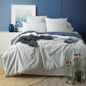 Vintage Washed Yarn Dyed Renee Taylor Portifino Cotton Quilt Cover Blue