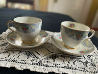 2 Sets 1930's Cups and Saucers, MADDOCK ENGLAND, Harmony Pattern, No Chips