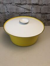 Catherine Holm Norway Yellow & White Enameled pot w/lid Dutch Oven