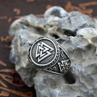 Men's Vintage Silver Norse Viking Valknut Rune Rings Fashion Gift Jewelry