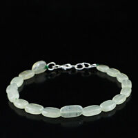 """50.00 Cts Earth Mined 8"""" Inches Long Green Aquamarine Oval Shape Beads Bracelet"""