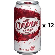 DIET CHEERWINE Soft Drink Soda - Lot of 12 - 12oz Cans - FRESH! 12 Pack