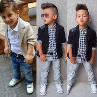 Baby Kids Boys Blazer Shirt Tops Denim Pants Gentleman 3Pcs Outfits Clothes Set
